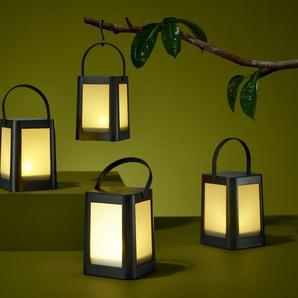 4 LED-Laternen - schwarz -