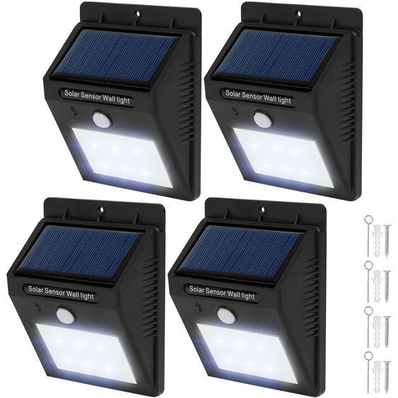 4 LED Solar Leuchten mit Bewegungsmelder - schwarz