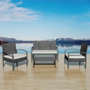 4-Sitzer Lounge Set Destine aus Polyrattan mit Polster