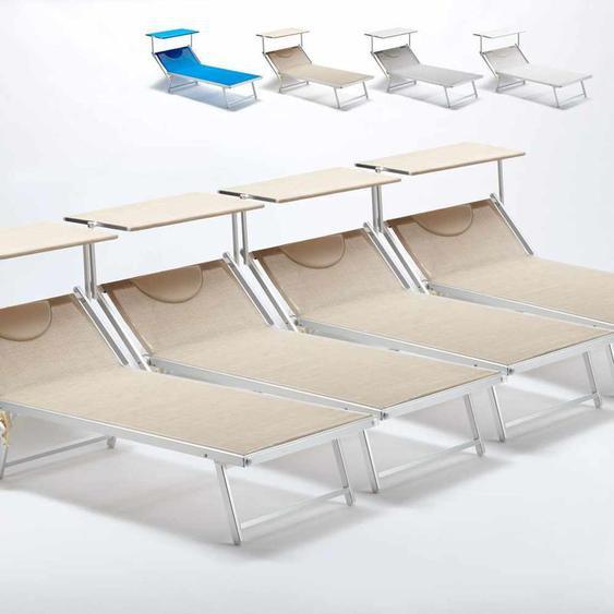 4 Sonnenliegen aus Aluminium Professionell für Strand und Meer Grande Italia Xl   Beige - BEACH AND GARDEN DESIGN