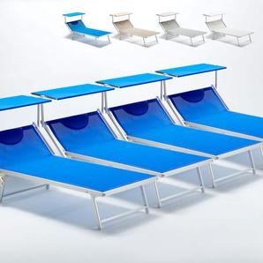 4 Sonnenliegen aus Aluminium professionell für Strand und Meer GRANDE ITALIA XL | Blau - BEACH AND GARDEN DESIGN