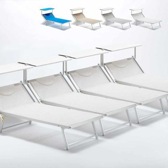4 Sonnenliegen aus Aluminium Professionell für Strand und Meer Grande Italia Xl   Weiß