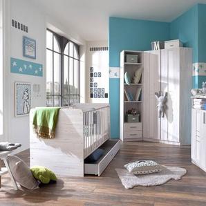 4-tlg. Babyzimmer in Weißeiche-Nachbildung und Icy-White, Eckschrank (B: 95 cm), Wickelkommode (B: 91 cm) und Babybett 70 x 140 cm