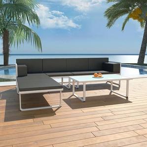 4-tlg. Garten-Lounge-Set mit Auflagen Aluminium Schwarz - VIDAXL