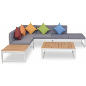 4-tlg. Garten-Lounge-Set mit Auflagen Aluminium und WPC - VIDAXL