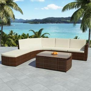 4-tlg. Garten-Lounge-Set mit Auflagen Poly Rattan Braun - VIDAXL