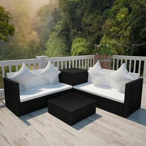 4-tlg. Garten-Lounge-Set mit Auflagen Poly Rattan Schwarz - VIDAXL