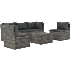 4-tlg. Garten-Lounge-Set mit Polstern Poly Rattan Grau - VIDAXL