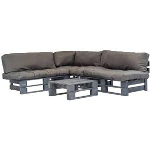 4-tlg. Garten-Lounge-Set Paletten Graue Auflagen Holz - VIDAXL