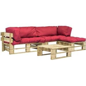 4-tlg. Garten-Lounge-Set Paletten Rote Auflagen Holz - VIDAXL