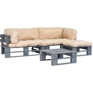 4-tlg. Garten-Lounge-Set Paletten Sandfarbene Auflagen Holz - VIDAXL