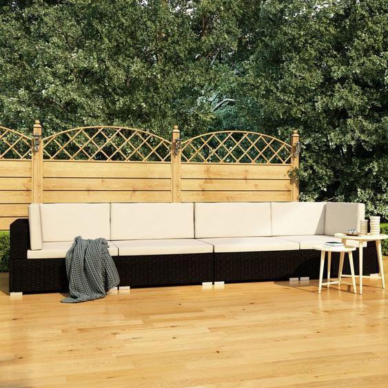 4-Tlg. Garten-Sofagarnitur Mit Auflagen Poly Rattan Schwarz