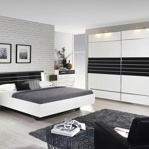 4-tlg. Schlafzimmer in alpinweiß, Abs. grau-metallic, Schwebetürenschrank B: 271 cm, Bettanlage 180 x 200 cm mit 2 Nachtkonsolen Gesamtbreite: 285 cm