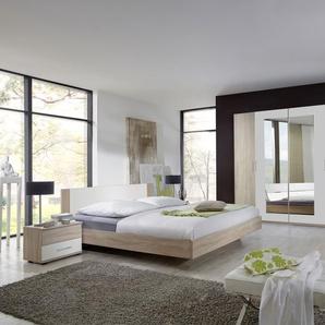 4-tlg. Schlafzimmer in Eiche sägerau-Nachb. mit Abs. in alpinweiß, Kleiderschrank Breite: 225 cm, Futonbett 180 x 200 cm, 2 Nachtschränke