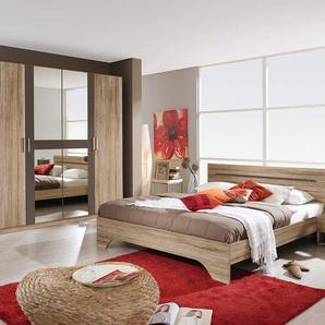 4-tlg. Schlafzimmer in Eiche Sanremo NB, Abs. lavagrau, Drehtürenschrank B: 226 cm, Bettanlage 180 x 200 cm mit 2 Nachtkonsolen Gesamtbreite: 285 cm