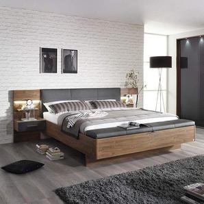 4-tlg. Schlafzimmer in Eiche Stirling mit basalt Glas, Schwebetürenschrank B: 226 cm, Bettanlage B: 285 cm mit 2 bel. Paneel-Nachttischen, Polsterbank
