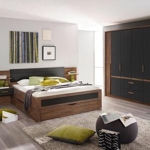4-tlg. Schlafzimmer in Eiche Stirling NB mit Abs. in grau, Drehtürenschrank B: 226 cm, Bettanlage Liegefläche 180 x 200 cm Gesamtbreite: 285 cm
