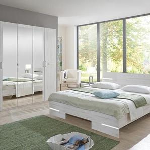 4-tlg. Schlafzimmer in Weißeiche Nachbildung und Chrom mit Kleiderschrank (B: ca. 225 cm), Futonbett (180x200 cm) und 2 Nachtschränken (B: ca. 104 cm)