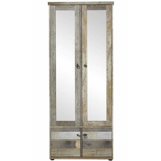 4-trg. Garderobenschrank in Driftwood-Nb., 4 Einlegeböden, 1 Konstruktionsboden, 1 ausziehbarer Kleiderstange, Maße: B/H/T ca. 78/189/40 cm