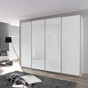 4-trg. Schwebetürenschrank alpinweiß, 2 Glastüren weiß, Griffleisten alufarben, 4 Elemente, je 1 Fachboden/1 Kleiderstange, Maße: B/H/T ca. 271/211/6