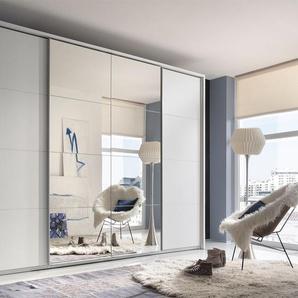 4-trg. Schwebetürenschrank in weiß mit abgesetzten Spiegelfront, Synchrones öffnen der Mitteltüren, Maße: B/H/T ca. 315/226/62 cm