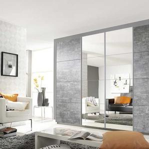 4-trg. Schwebetürenschrank, Korpus und Front in Stone Grey mit 2 Spiegeltüren, Griffleisten alufarben, Maße: B/H/T ca. 316/211/62 cm