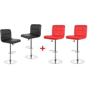 4er-Set Barhocker mit Fußstütze hoch drehbar höhenverstellbar Schwarz+Rot - OOBEST