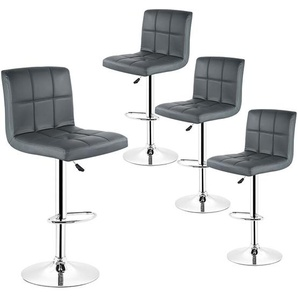 4x Barhocker Barstuhl Küchenstuhl Drehstuhl mit 6 Gitter höhenverstellbar Grau - OOBEST
