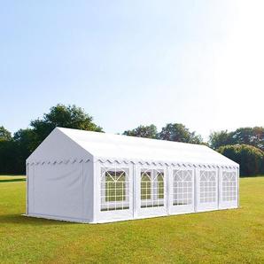 4x10 m Partyzelt, PVC-Plane 500 g/m², feuersicher weiß