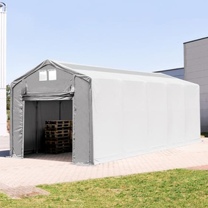 4x10 m Zelthalle - 3,0 m Seitenhöhe mit Hochziehtor und Oberlichtern, PVC 550 g/m² grau | mit Statik (Erduntergrund)