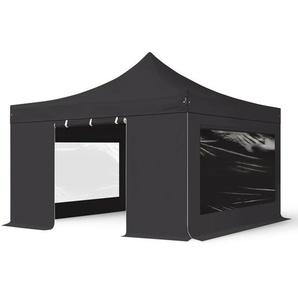4x4 m Faltpavillon PROFESSIONAL Alu 40 mm, Seitenteile mit Panoramafenstern, schwarz