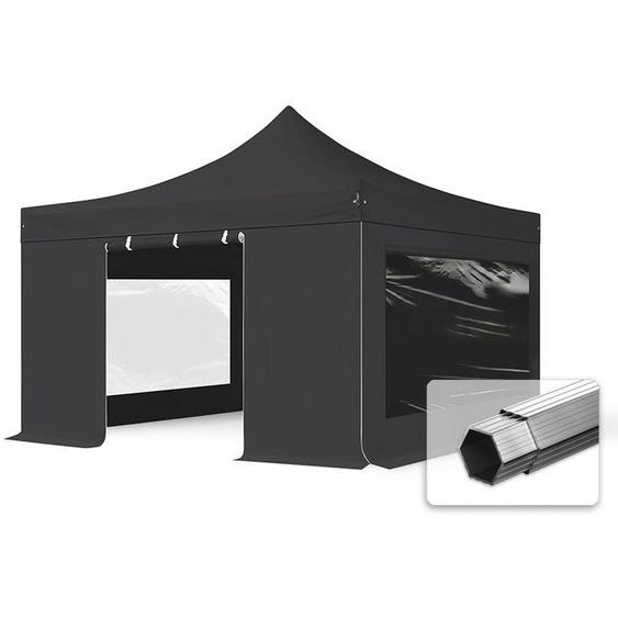 4x4 m Faltpavillon, PROFESSIONAL Alu 40mm, feuersicher, Seitenteile mit Panoramafenstern, schwarz