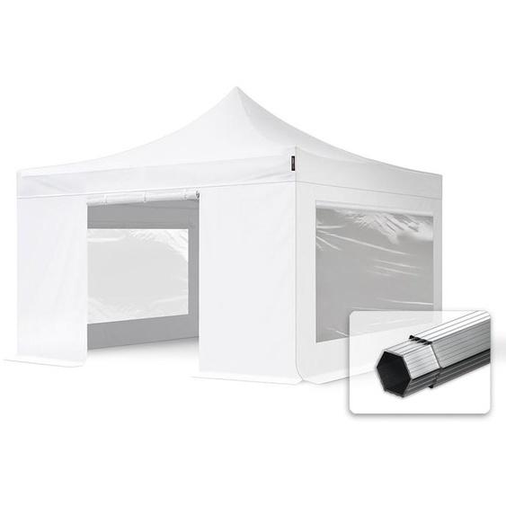 4x4 m Faltpavillon, PROFESSIONAL Alu 40mm, feuersicher, Seitenteile mit Panoramafenstern, weiß