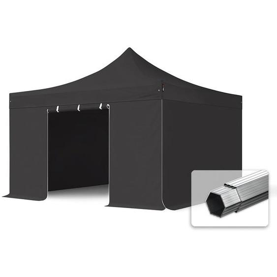 4x4 m Faltpavillon, PROFESSIONAL Alu 40mm, feuersicher, Seitenteile ohne Fenster, schwarz