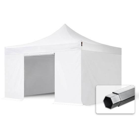 4x4 m Faltpavillon, PROFESSIONAL Alu 40mm, feuersicher, Seitenteile ohne Fenster, weiß