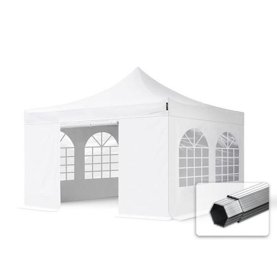 4x4 m Faltpavillon PROFESSIONAL Alu 40mm, Seinteteile mit Rechteckfenstern, weiß