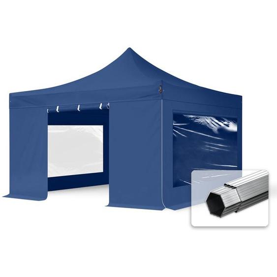4x4 m Faltpavillon PROFESSIONAL Alu 40mm, Seitenteile mit Panoramafenstern, blau