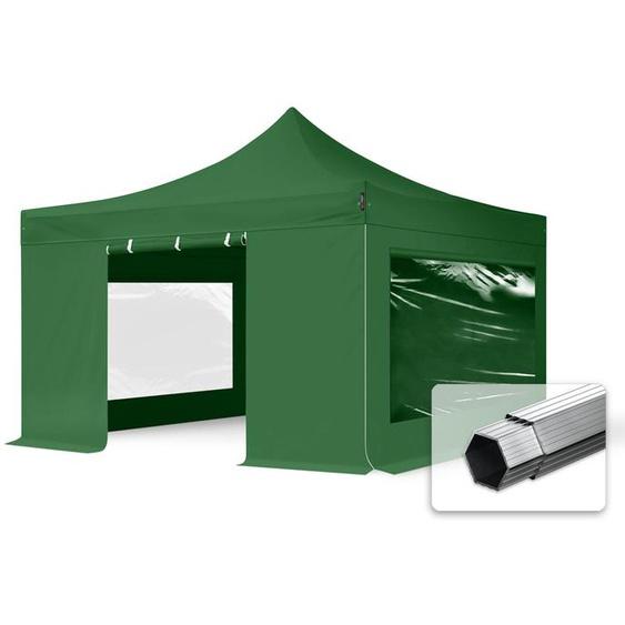 4x4 m Faltpavillon PROFESSIONAL Alu 40mm, Seitenteile mit Panoramafenstern, dunkelgrün