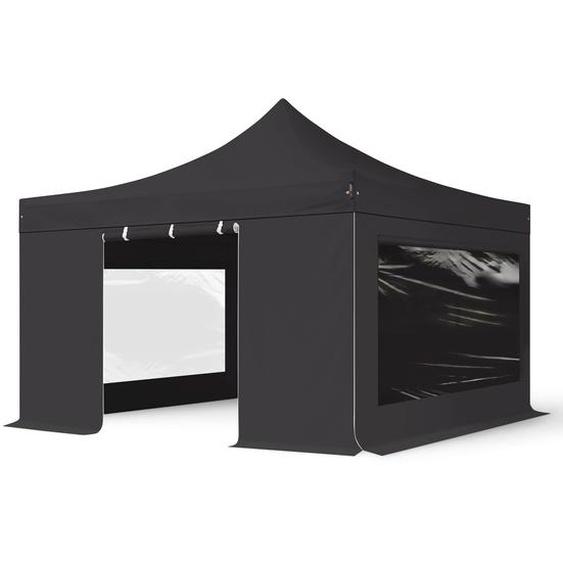 4x4 m Faltpavillon PROFESSIONAL Alu 40mm, Seitenteile mit Panoramafenstern, schwarz