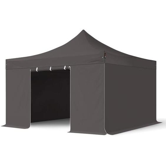 4x4 m Faltpavillon PROFESSIONAL Alu 40mm, Seitenteile ohne Fenster, dunkelgrau