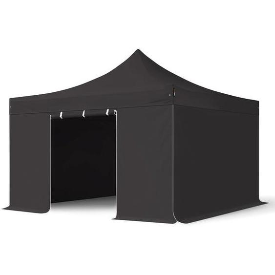 4x4 m Faltpavillon PROFESSIONAL Alu 40mm, Seitenteile ohne Fenster, schwarz