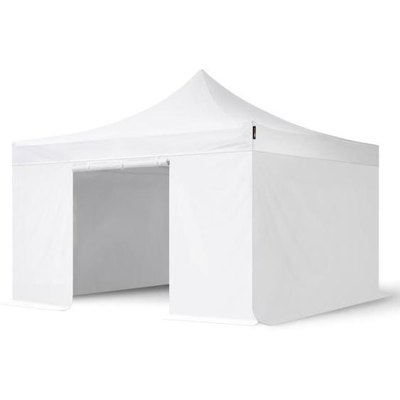 4x4 m Faltpavillon PROFESSIONAL Alu 40mm, Seitenteile ohne Fenster, weiß