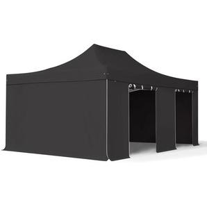 4x6 m Faltpavillon PROFESSIONAL Alu 50 mm, feuersicher, Seitenteile ohne Fenster, schwarz
