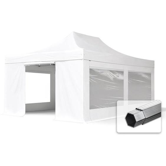 4x6 m Faltpavillon, PROFESSIONAL Alu 50mm, feuersicher, Seitenteile mit Panoramafenstern, weiß