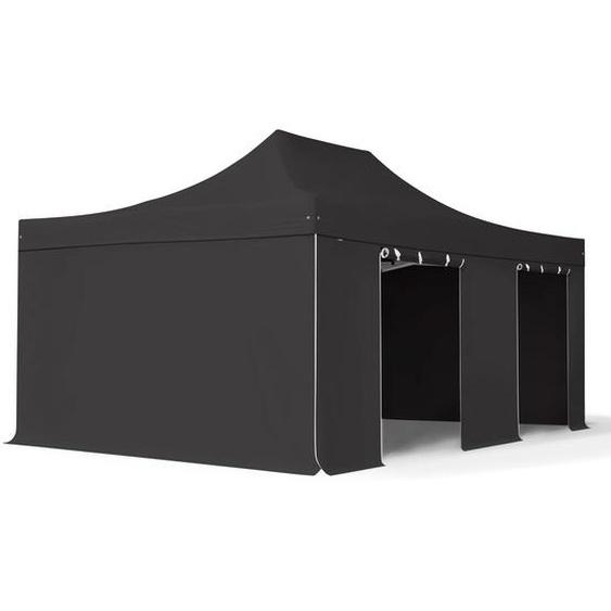 4x6 m Faltpavillon, PROFESSIONAL Alu 50mm, feuersicher, Seitenteile ohne Fenster, schwarz