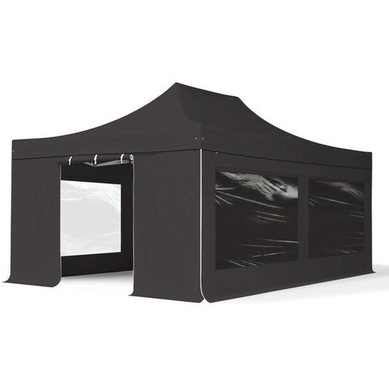 4x6 m Faltpavillon PROFESSIONAL Alu 50mm, Seitenteile mit Panoramafenstern, schwarz