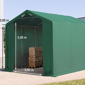 4x6 m Zelthalle - 3,0 m Seitenhöhe mit Reißverschlusstor, PVC 550 g/m² dunkelgrün | ohne Statik