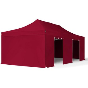 4x8 m Faltpavillon PROFESSIONAL Alu 50 mm, Seitenteile ohne Fenster, rot
