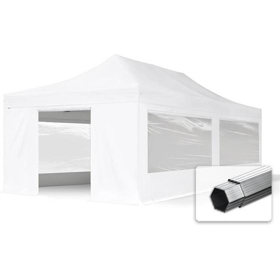 4x8 m Faltpavillon, PROFESSIONAL Alu 50mm, feuersicher, Seitenteile mit Panoramafenstern, weiß
