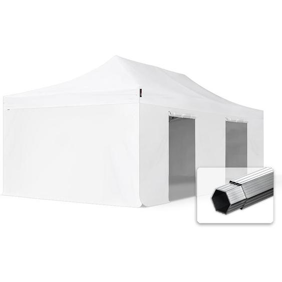 4x8 m Faltpavillon, PROFESSIONAL Alu 50mm, feuersicher, Seitenteile ohne Fenster, weiß